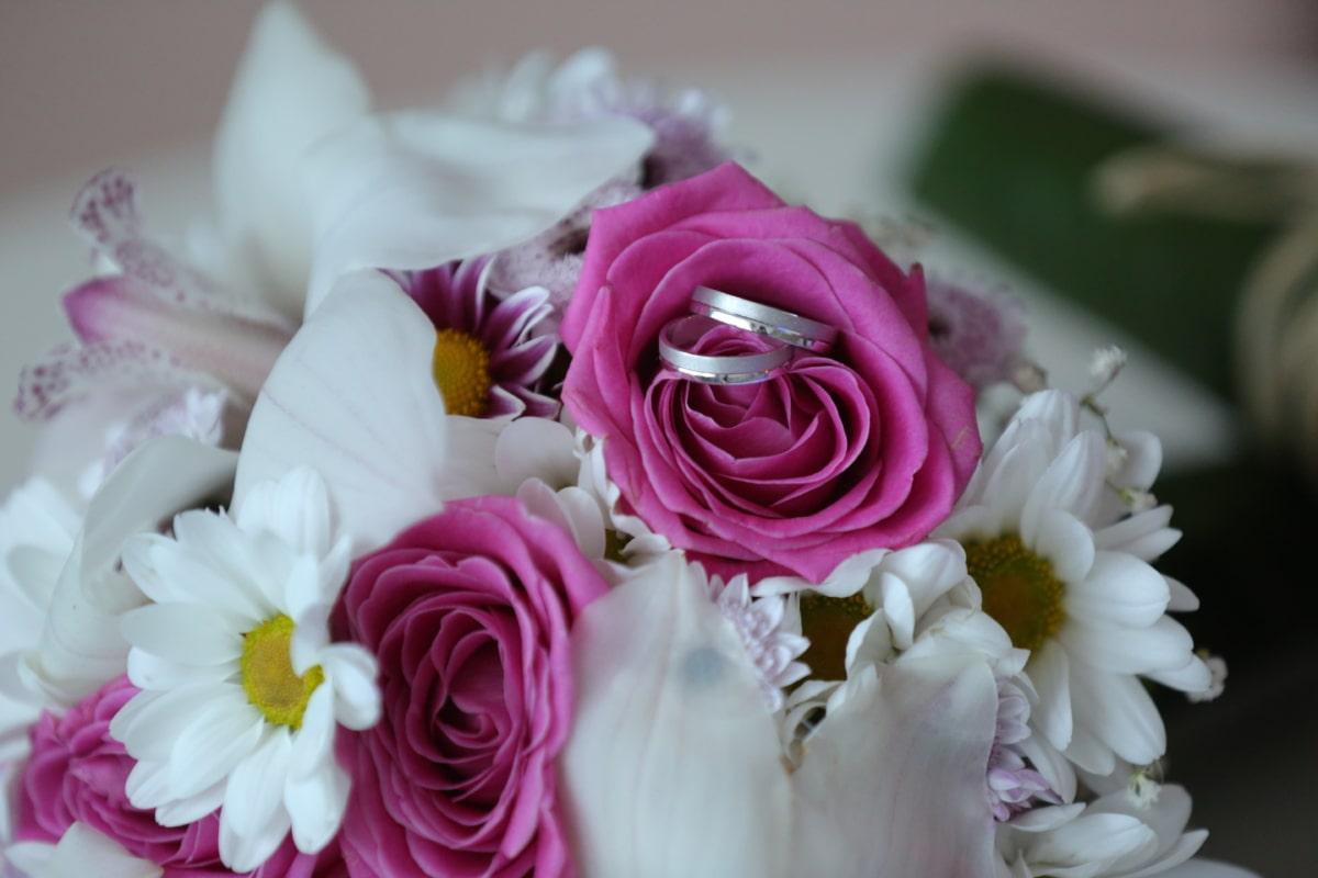 jewelry, wedding, wedding bouquet, wedding ring, decoration, flower, roses, rose, arrangement, love