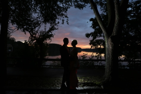 dress, hug, lakeside, man, night, pretty girl, shadow, side view, sunset, trees