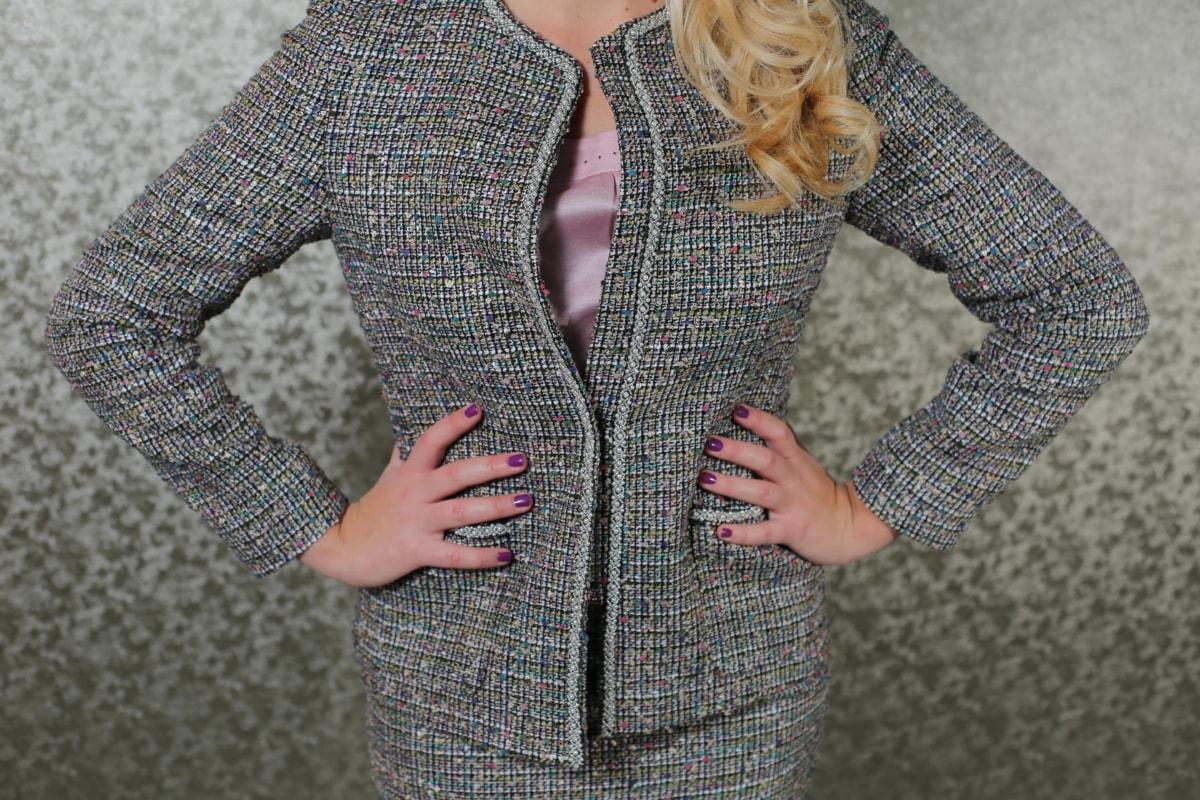 businesswoman, casual, glamour, handsome, jacket, knitwear, manicure, photo model, photo studio, pretty girl