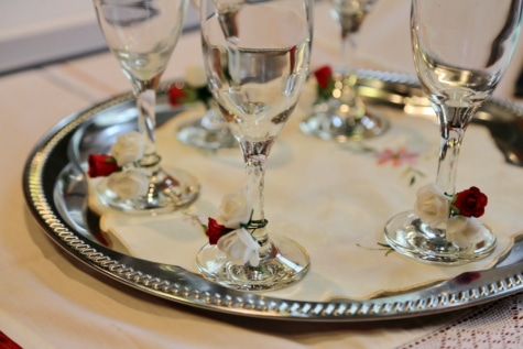 arrangement, champagne, crystal, decoration, drink, glass, tablecloth, white wine, winery, elegant