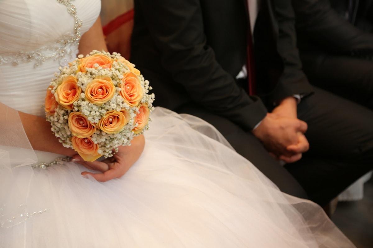 affection, bride, ceremony, groom, hands, marriage, veil, wedding, wedding bouquet, wedding dress