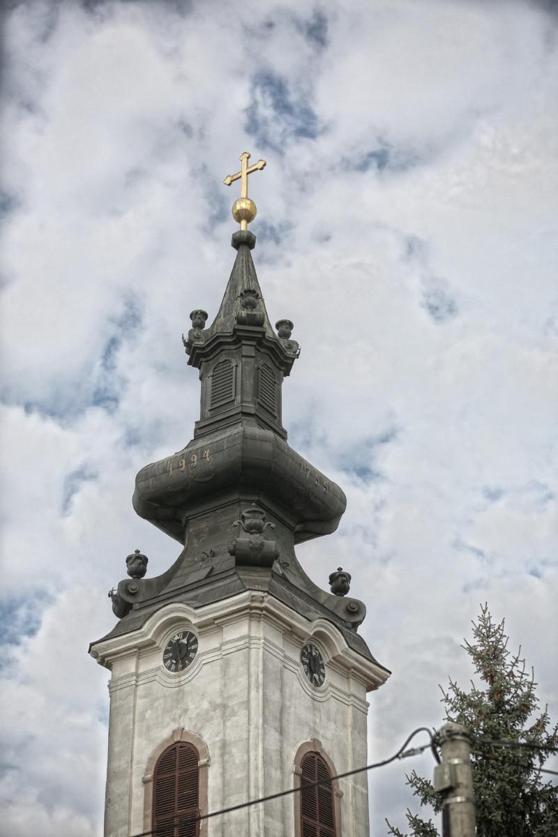барокко, башня церков, крест, золотой блеск, православные, купол, религия, архитектура, построение, церковь