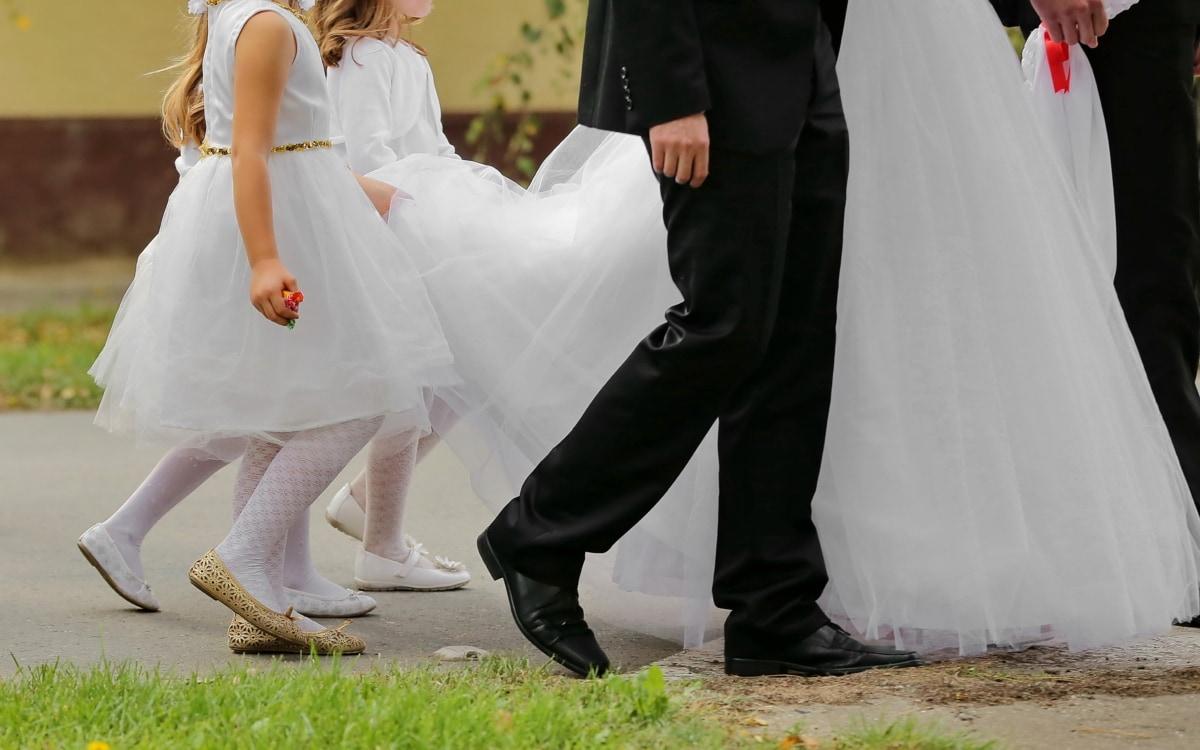 행사, 아이 들, 패션, 다리, 예쁜 소녀, 산책, 웨딩, 웨딩 드레스, 신부, 사랑