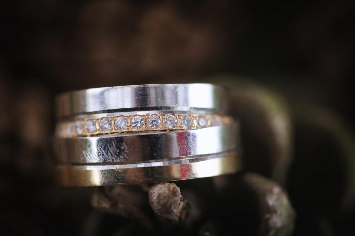 Diamond, oro, joya, joyería, Platinum, reflexión, anillos, naturaleza muerta, adentro, difuminar