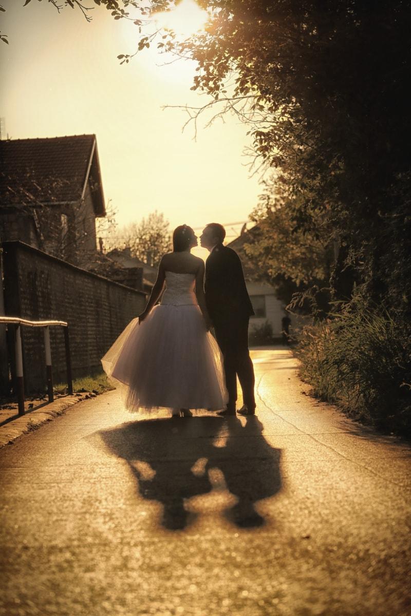 kiss, nostalgia, portrait, pretty girl, romantic, sepia, street, sunset, wedding, wedding dress