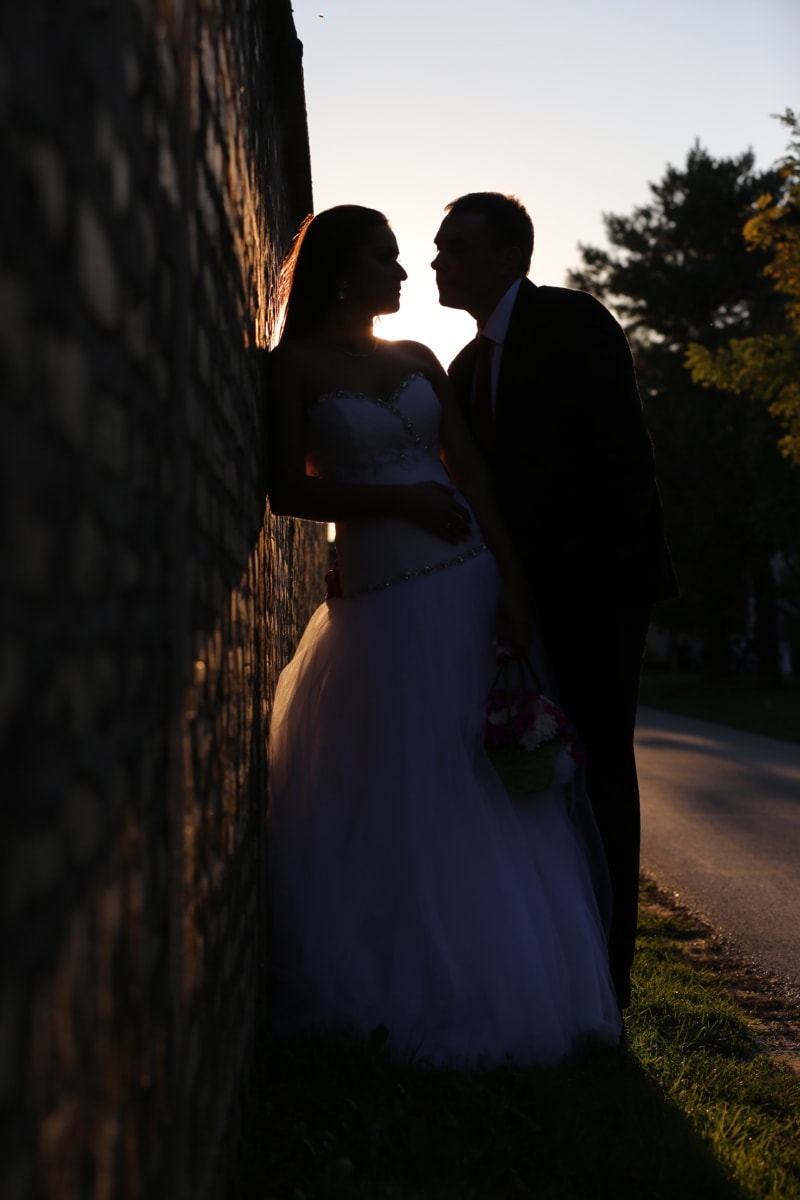 bride, glamour, love, portrait, shadow, sunset, wedding dress, wedding, couple, groom