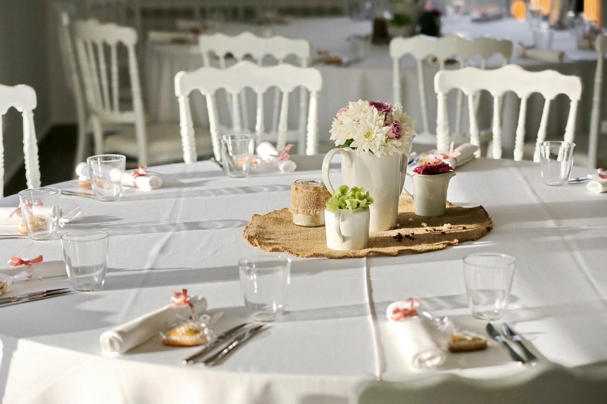 椅子, 餐具, 餐饮区, 优雅, 看中, 家具, 餐厅, 现代, 餐具, 银器