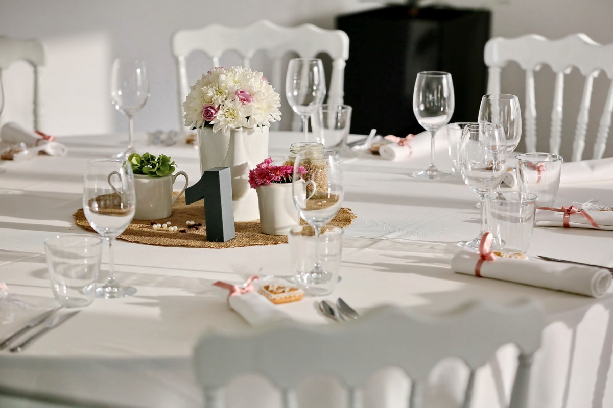 chairs, cutlery, dining area, elegance, fancy, glass, interior decoration, lunchroom, restaurant, still life