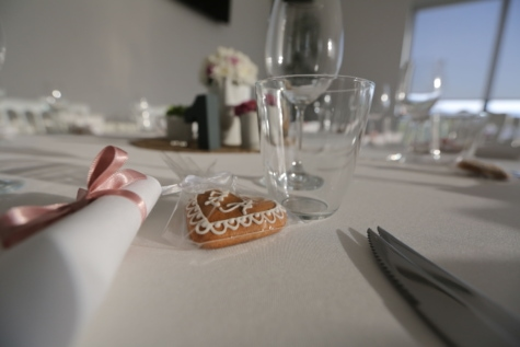 biscuit, dinner table, glass, glassware, heart, knife, napkin, table, restaurant, party