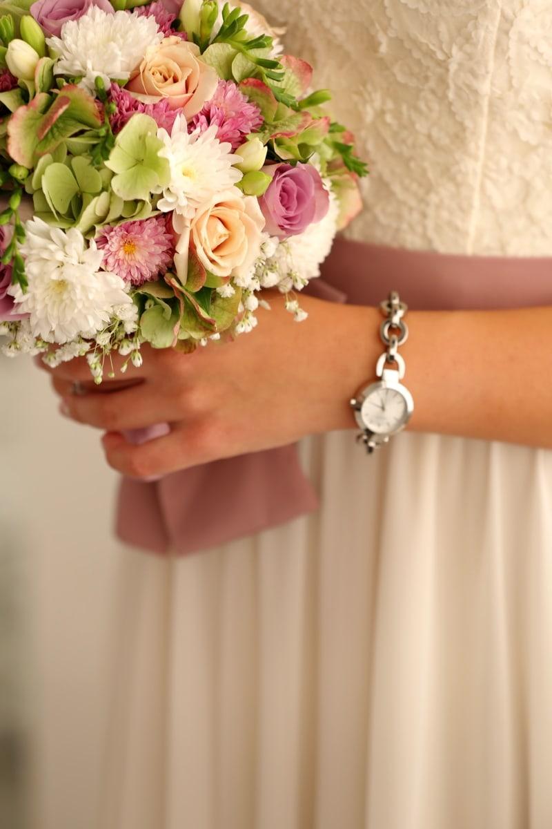 belief, dress, elegance, romantic, wedding bouquet, wedding dress, wristwatch, religious, flowers, bride