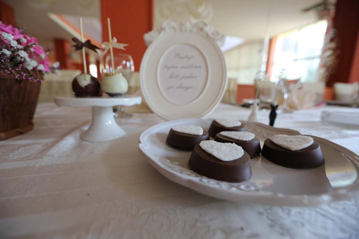 ceremony, cookies, elegant, porcelain, restaurant, romantic, tablecloth, tableware, chocolate, candle