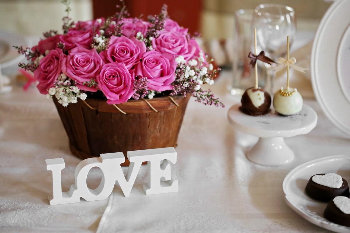 chocolates, dessert, love, romance, roses, symbol, tablecloth, text, wicker basket, flower