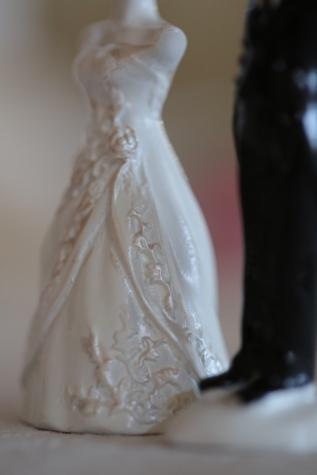 artistieke, keramiek, beeldje, handgemaakte, miniatuur, porselein, romantische, pak, trouwjurk, bruiloft
