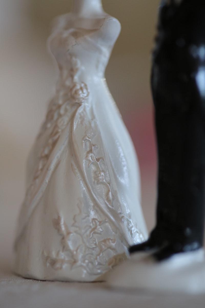 artistic, ceramics, figurine, handmade, miniature, porcelain, romantic, suit, wedding dress, wedding