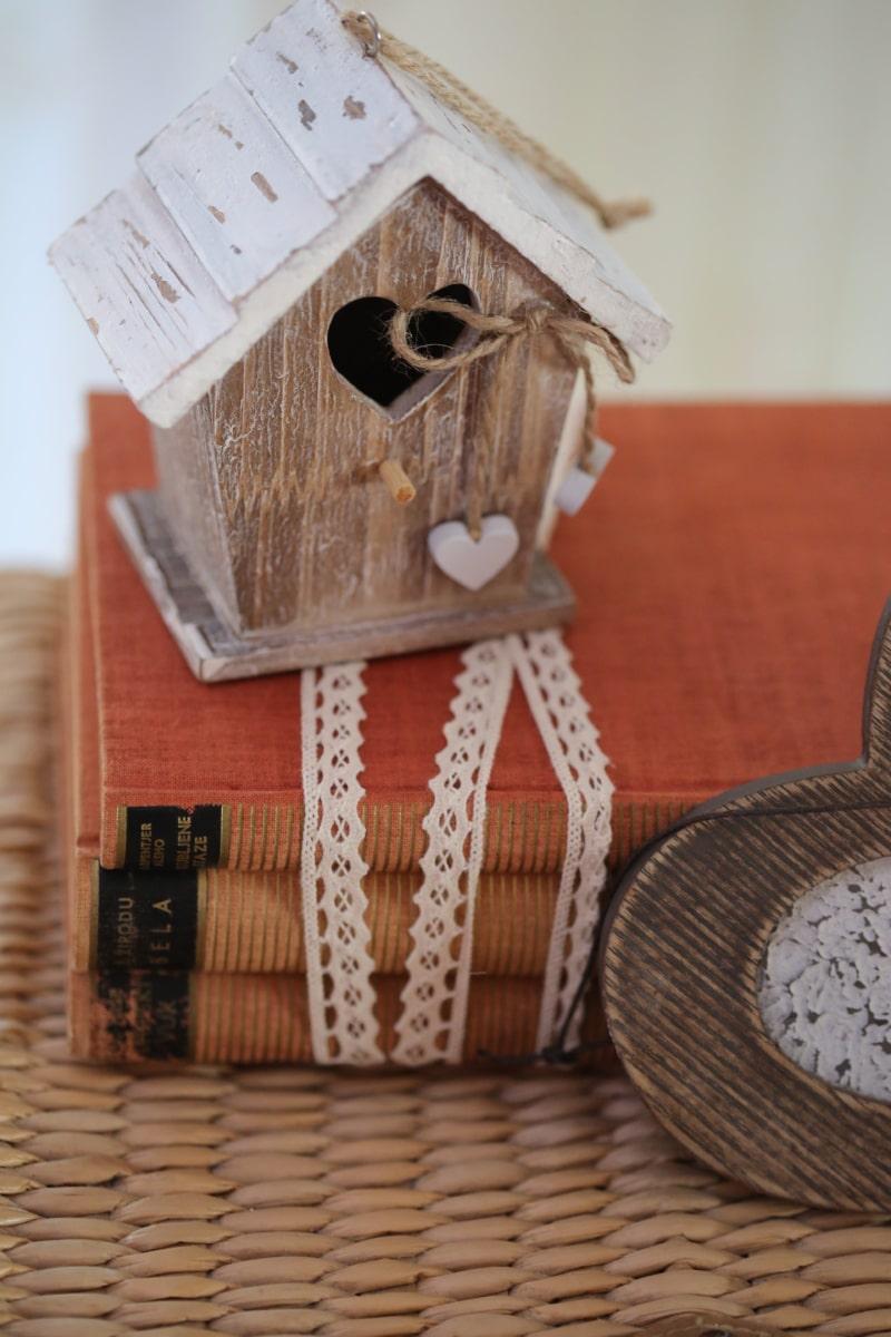 bøger, dekoration, håndlavede, hjerter, hus, interiør dekoration, miniature, romantisk, hjem, boks