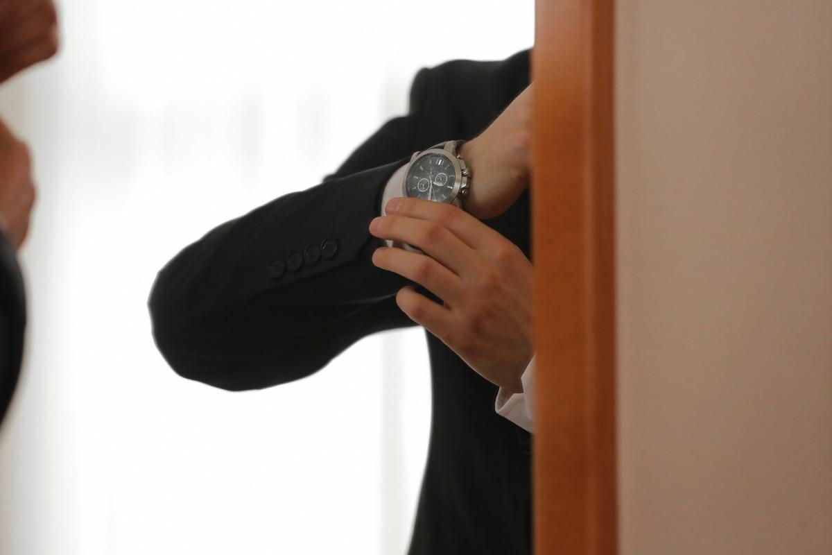 analog clock, arm, businesswoman, elegance, fashion, mirror, shoulder, suite, wristwatch, finger