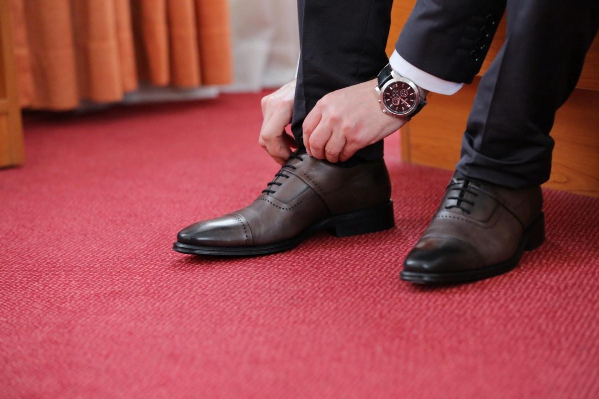 zakenman, elegantie, elegante, mode, leder, Broek, red carpet, schoenen, pak, Polshorloge