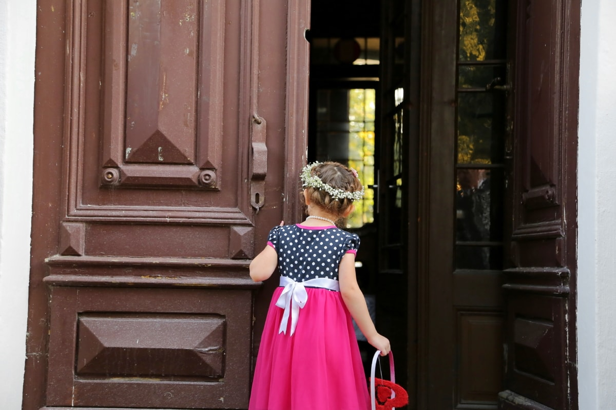 child, dress, entrance, event, front door, hairstyle, pretty girl, school child, wicker basket, street