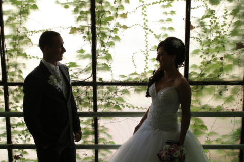 bride, happiness, husband, joy, man, pretty girl, silhouette, smile, suit, together