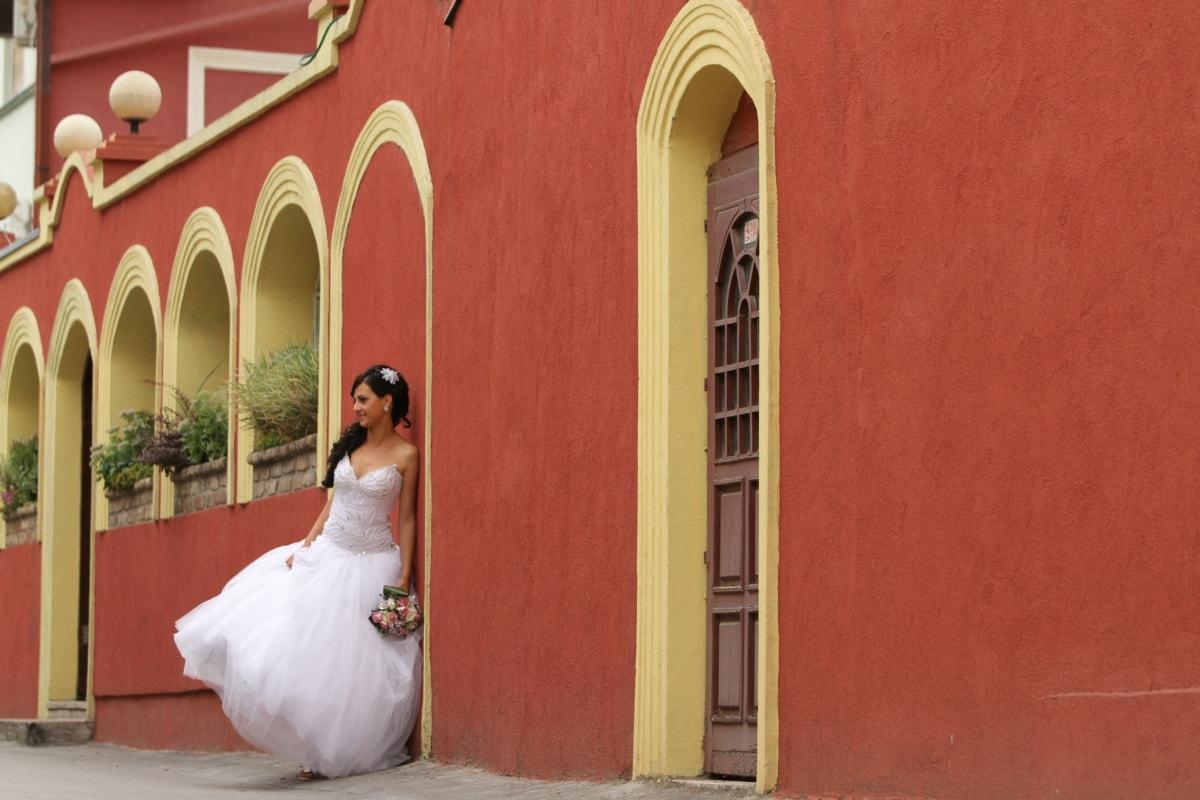facade, gorgeous, house, photo model, pretty girl, side view, street, wedding dress, wedding, building