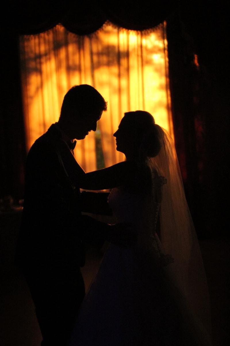 par, lykke, Klem, mann, folk, silhuett, smil, Dress, sløret, bryllupskjole