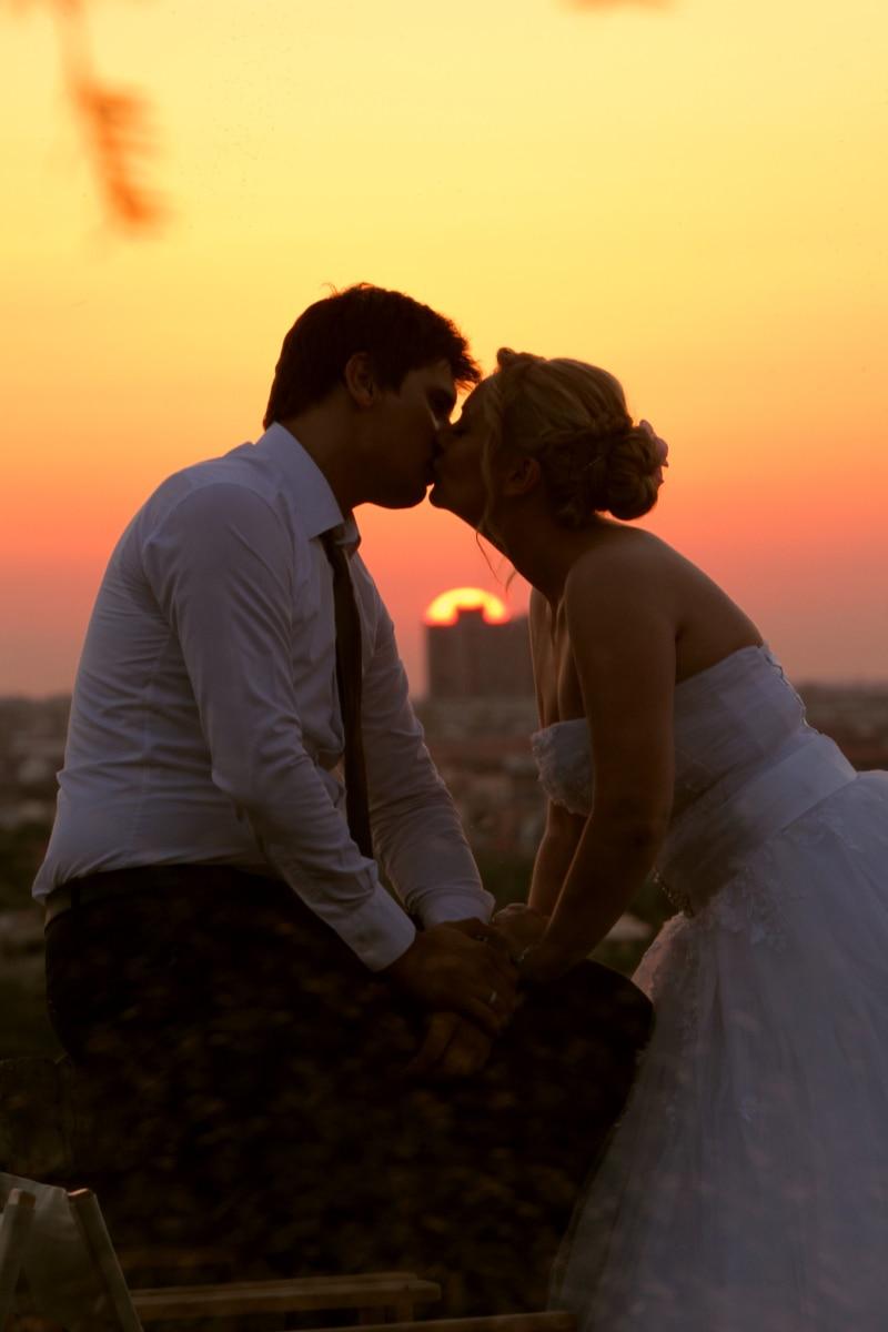 gorgeous, kiss, pretty, pretty girl, romantic, side view, silhouette, sunset, wedding, wedding dress