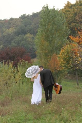 countryside, guitar, guitarist, hiking, rural, umbrella, wedding, wedding dress, farmer, nature