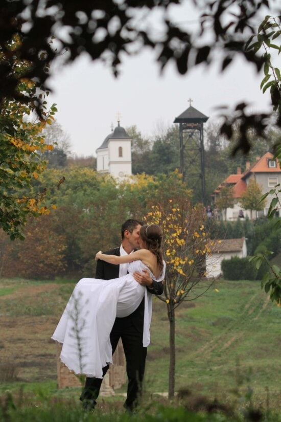 bride, groom, hairstyle, hug, kiss, love, marriage, village, person, weapon