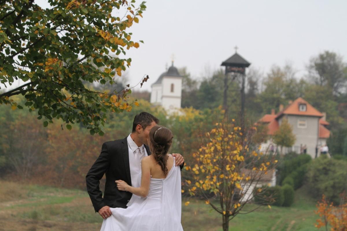 感情, 商人, 华丽, 吻, 伙伴, 伙伴关系, 漂亮女孩, 一起, 婚礼, 婚纱