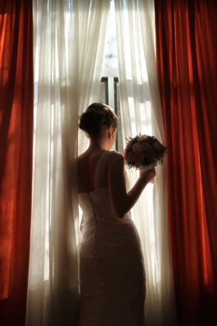 bride, curtain, innocence, pretty girl, room, wait, wedding, wedding bouquet, wedding dress, young woman