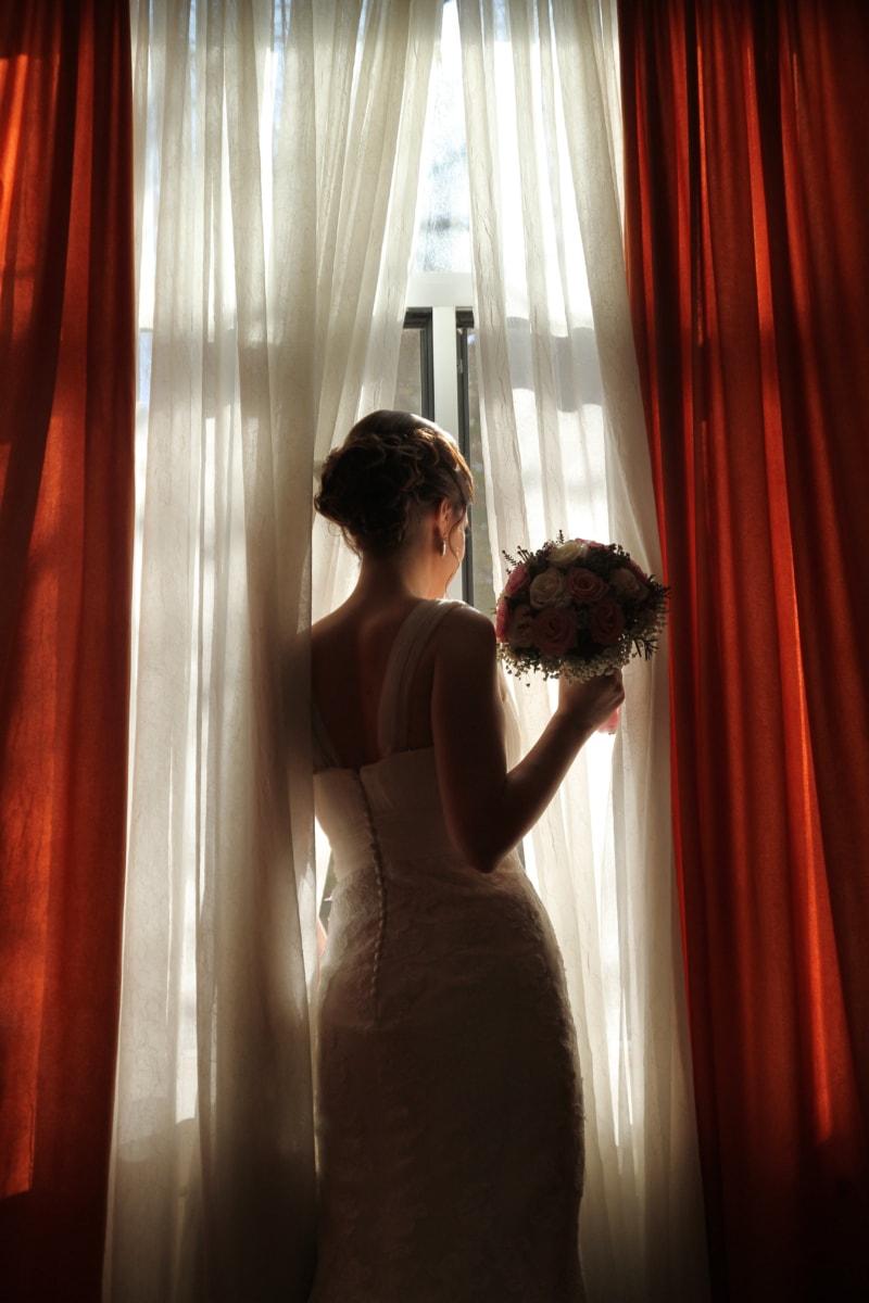 bruid, Gordijn, onschuld, mooi meisje, kamer, wachten, bruiloft, bruidsboeket, trouwjurk, jonge vrouw