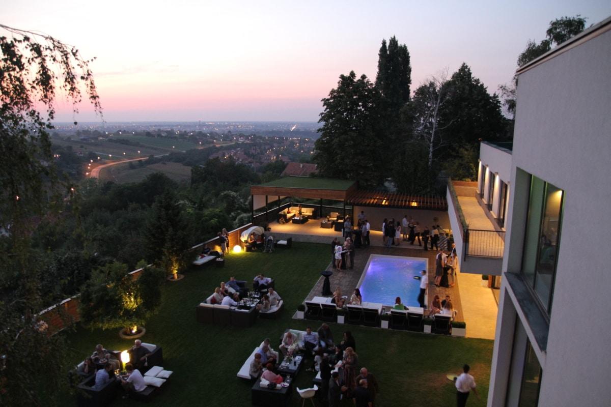 crowd, evening, luxury, party, resort area, swimming pool, resort, park, landscape, tree