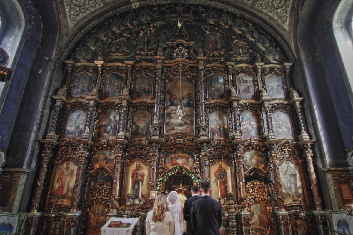 oltár, menyasszony, ünnepség, kereszténység, templom, vőlegény, ortodox, Pap, vallás, esküvő