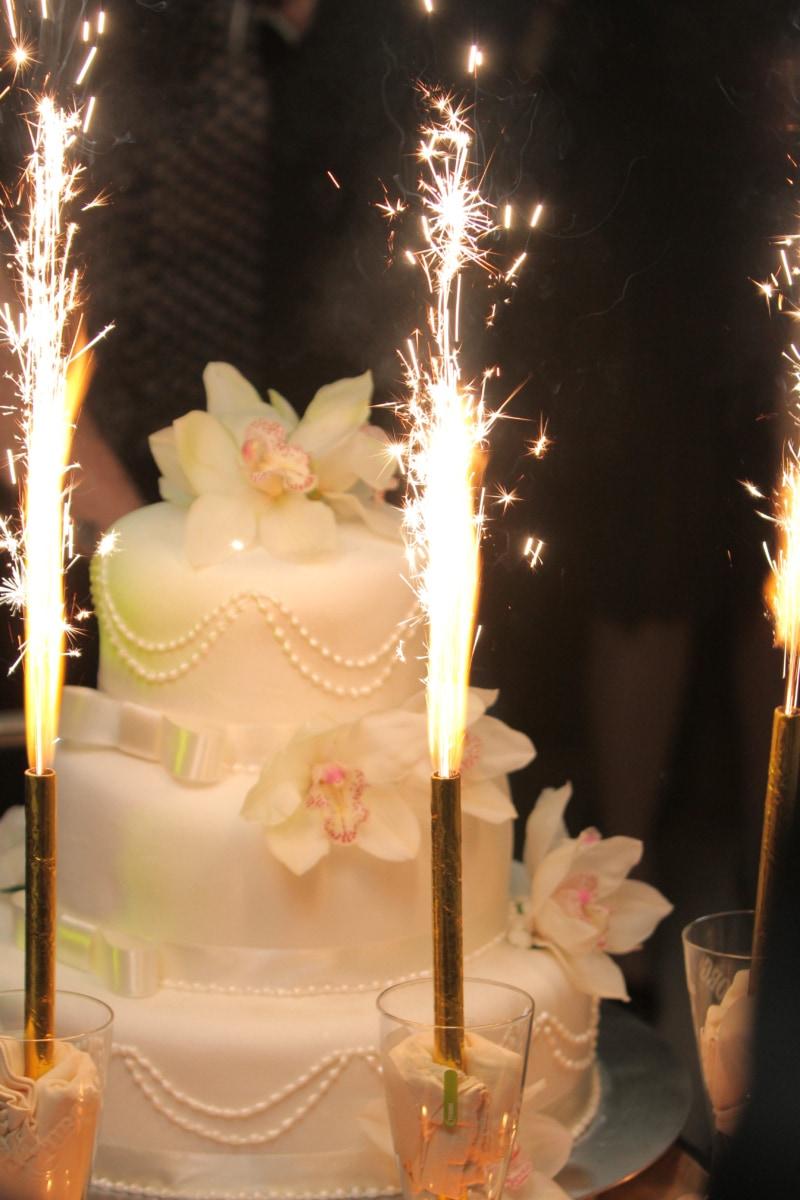 ceremony, decoration, event, spark, wedding, wedding cake, candle, celebration, cake, candles