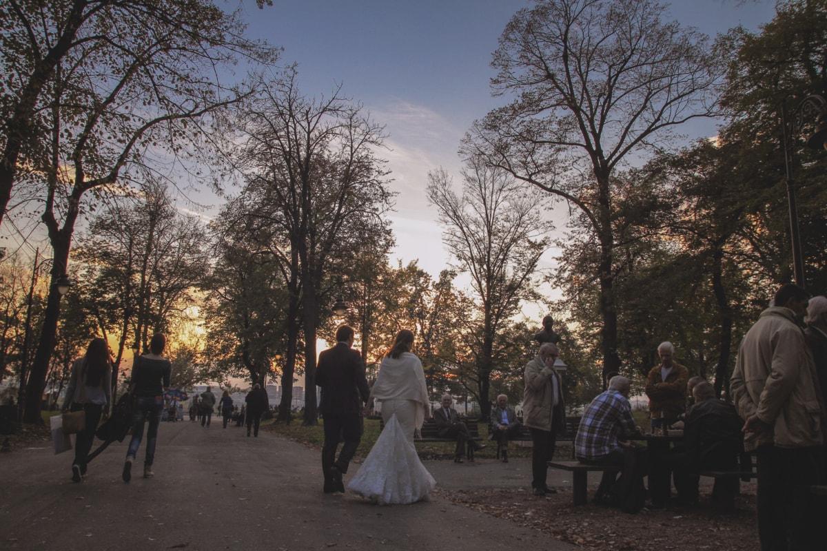 crowd, groom, lifestyle, park, people, wedding dress, wedding, bride, tree, woman