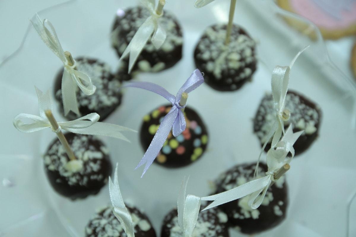 chocolate, close-up, detail, lollipop, ribbon, sticks, tasty, decoration, banquet, ceramics
