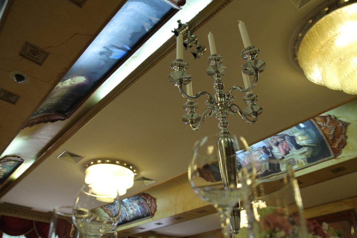 candles, candlestick, ceiling, handmade, interior decoration, luxury, metallic, decoration, glass, light