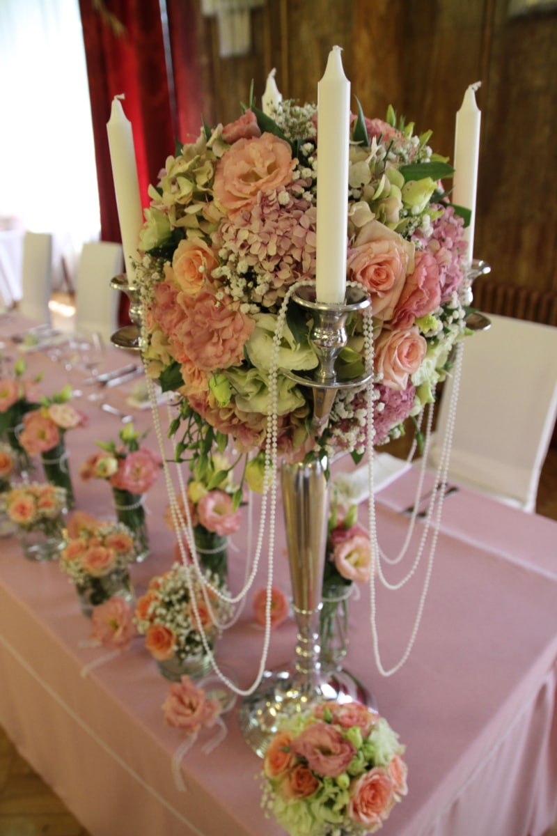 candles, candlestick, interior decoration, wedding, wedding bouquet, bouquet, decoration, arrangement, vase, flowers