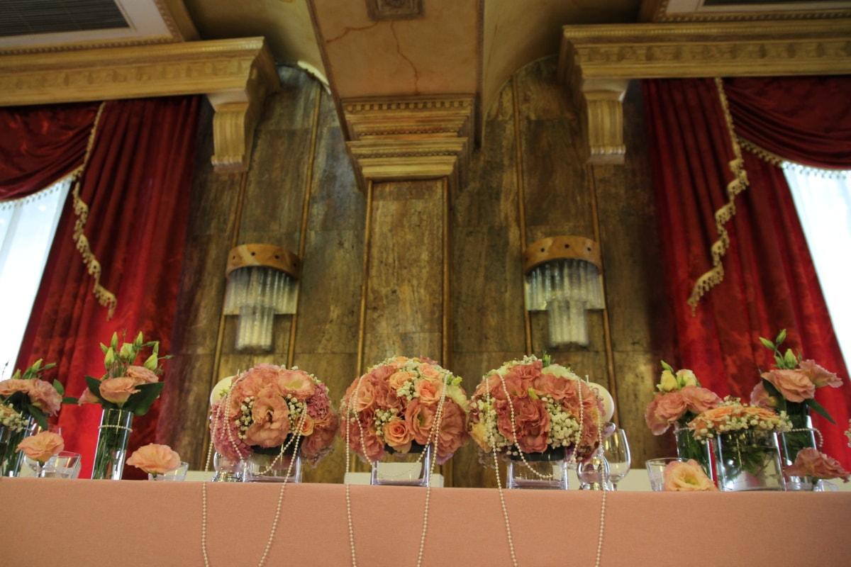 decoration, hotel, lunchroom, luxury, restaurant, royalty, structure, people, curtain, wedding