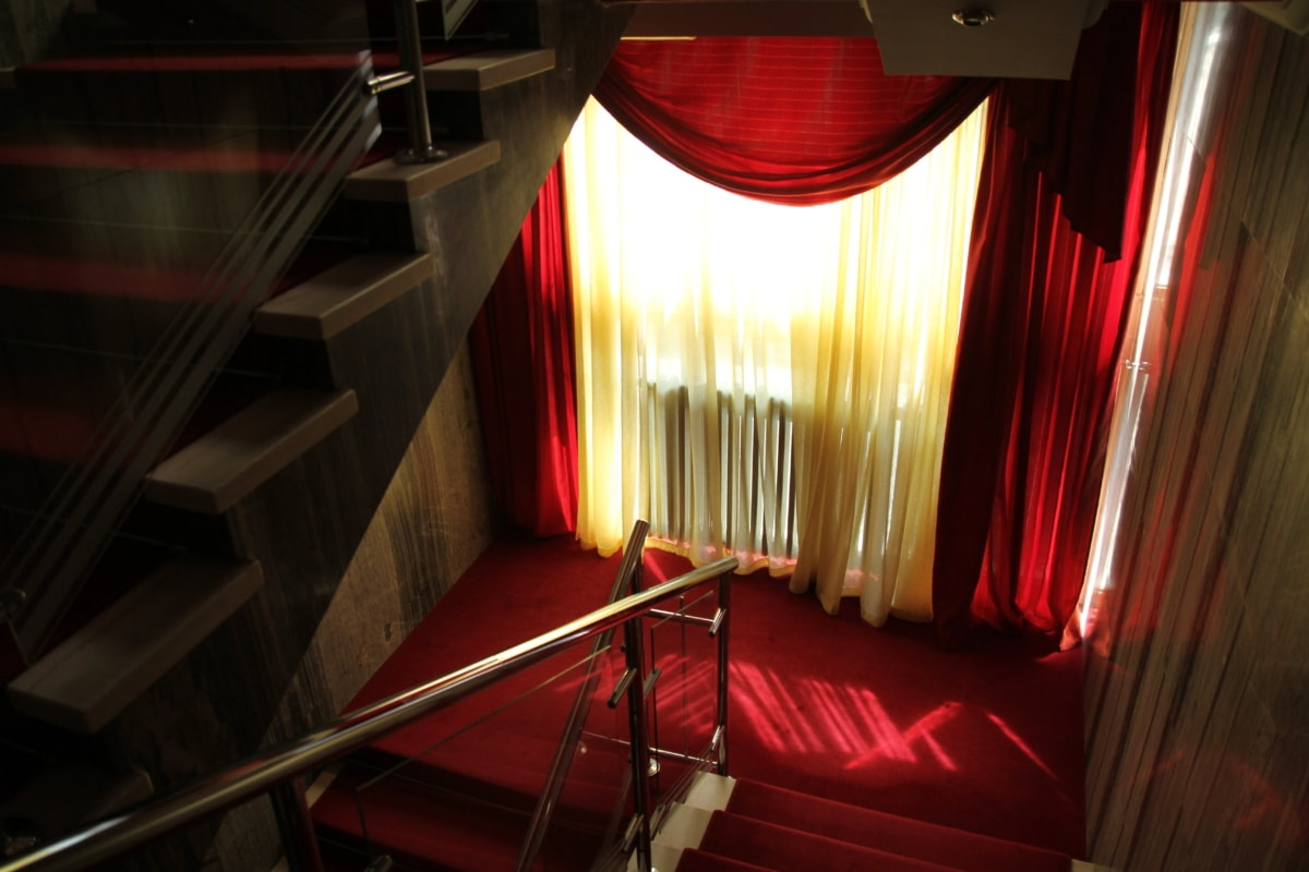 curtain, interior, luxury, red carpet, staircase, stairs, light, room, architecture, architectural