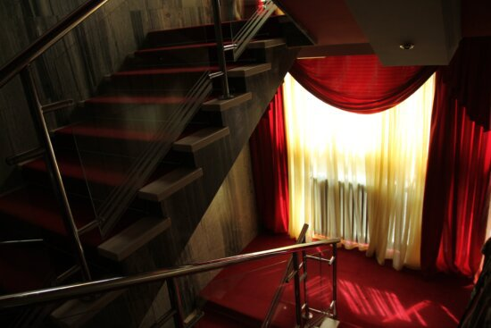curtain, luxury, modern, red carpet, shadow, staircase, interior, architecture, wall, floor