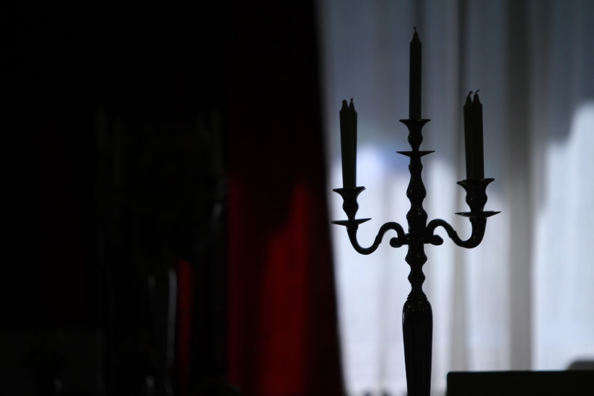 candles, candlestick, darkness, room, shadow, silhouette, candle, dark, light, indoors