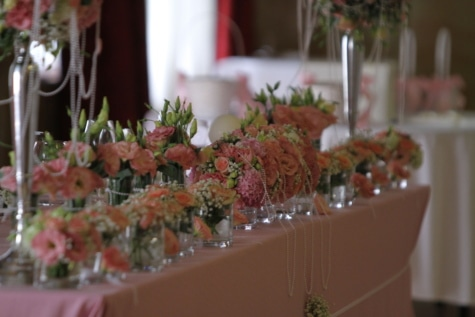 banquet, decoration, flower, lunchroom, reception, wedding, herb, interior design, bouquet, vase