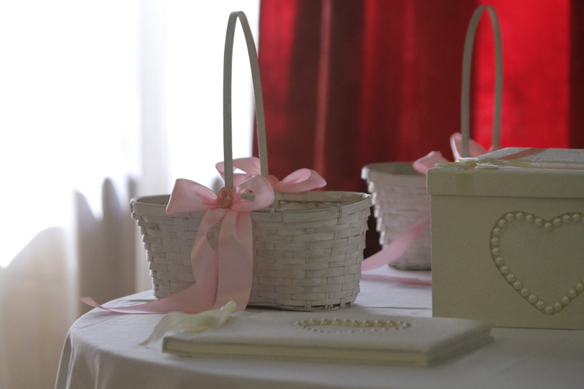 wicker basket, book, box, gifts, table, desk, boxes, curtain, detail, handmade
