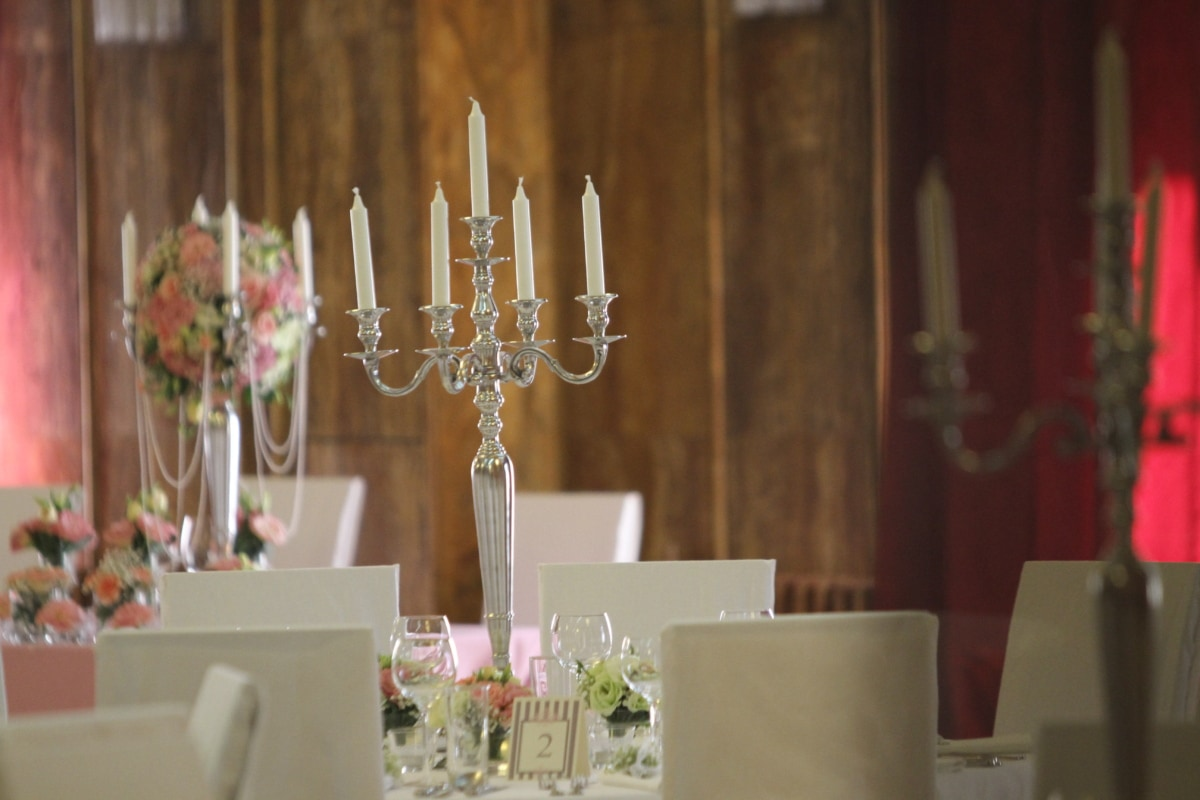 candlestick, candle, interior design, holder, indoors, elegant, romance, candlelight, retro, wedding