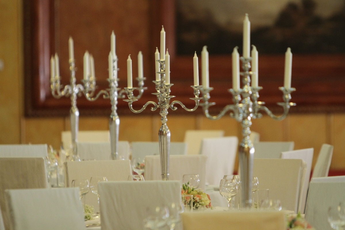 candles, dining area, elegance, lunchroom, silver, candlestick, candle, holder, celebration, religion