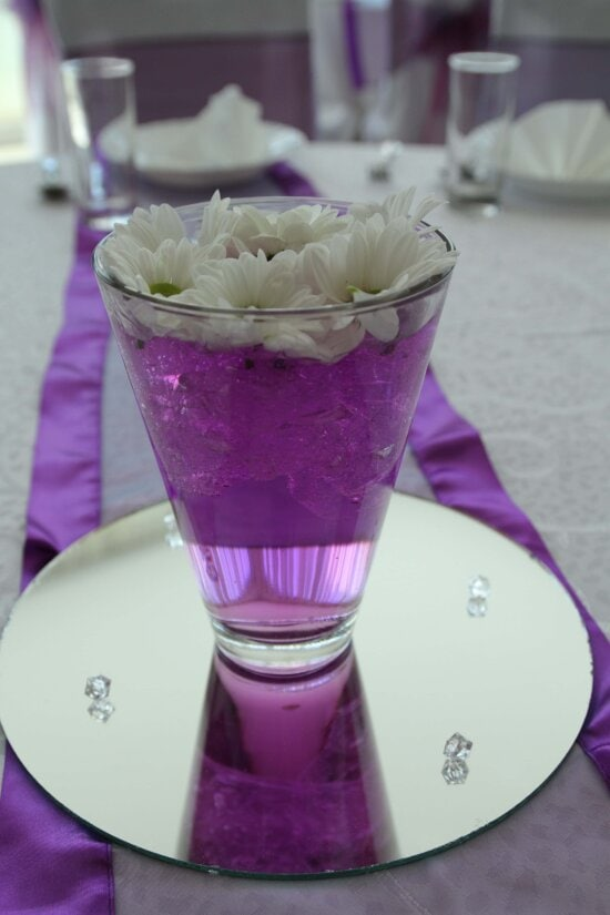 decorative, dining area, glass, ice water, lunchroom, mirror, purple, white flower, cup, elegant