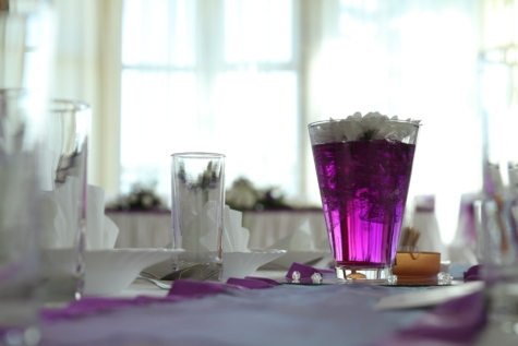 cutlery, dining area, elegance, lunchroom, napkin, purplish, restaurant, still life, tablecloth, vase