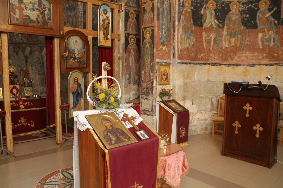 icon, medieval, monastery, mural, orthodox, structure, altar, religion, church, architecture