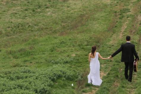 наречена, швидкісний спуск, наречений, гітара, гітарист, щастя, дорога, романтичний, трава, на відкритому повітрі